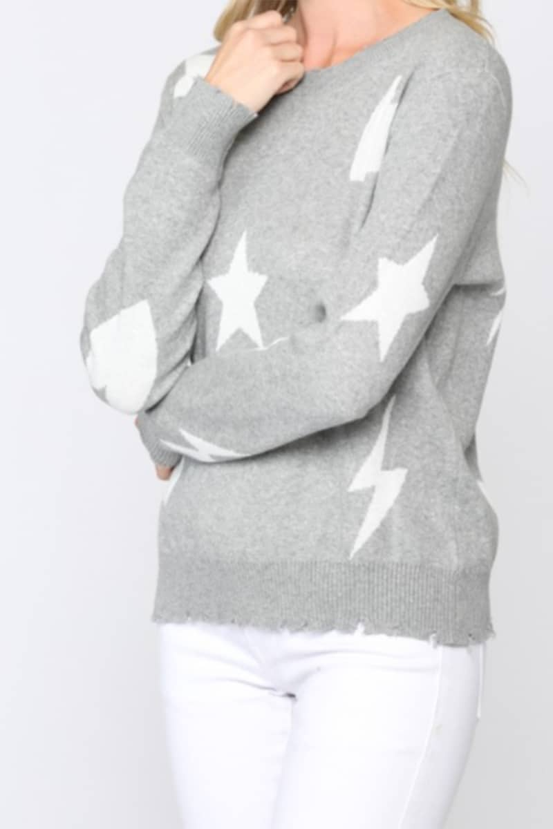 100 Cotton Heather Grey Sweater With Hearts Stars And Lightning Bolts 72084