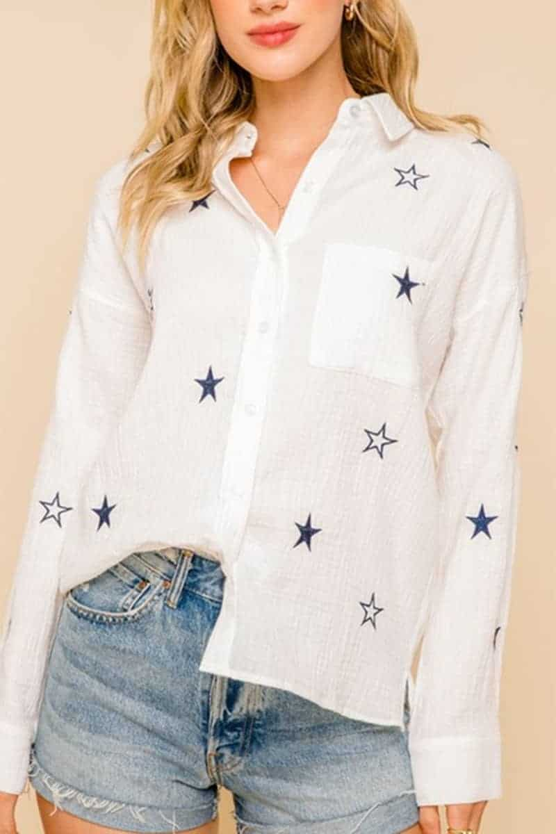100 Cotton Long Sleeve Button Front Shirt With Embroidered Stars 67827