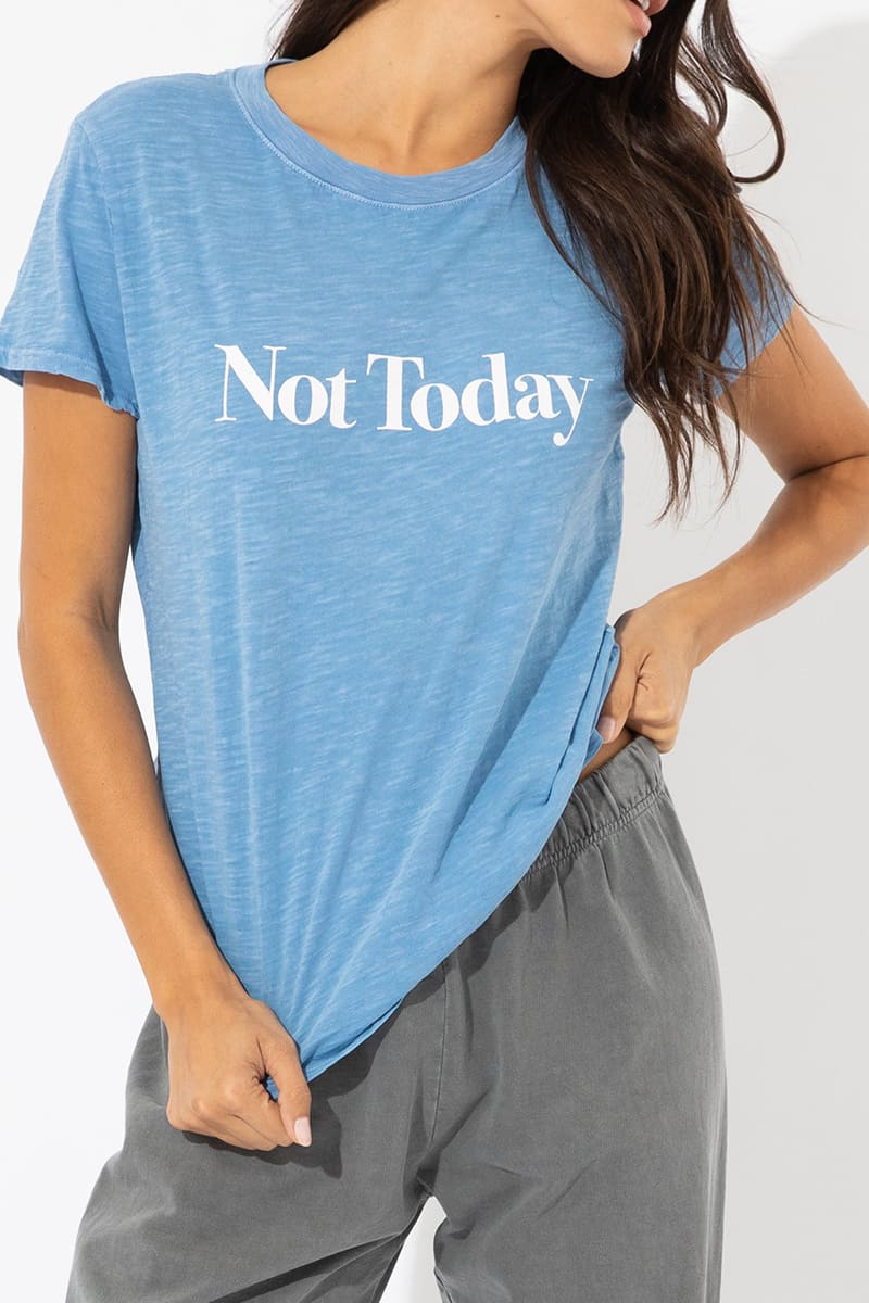 100 cotton not today ss loose tee in lt blue 85911