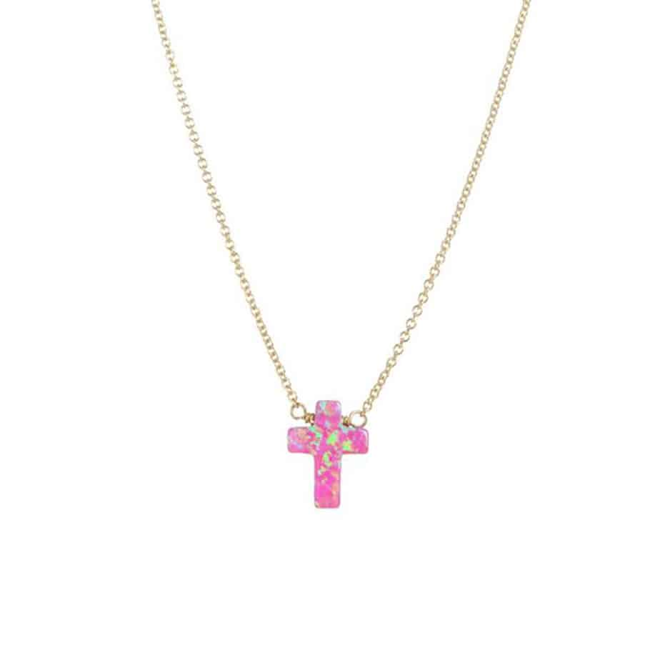 16 Elite Chain Necklace With Bubblegum Pink Opal Stone Cross 70358