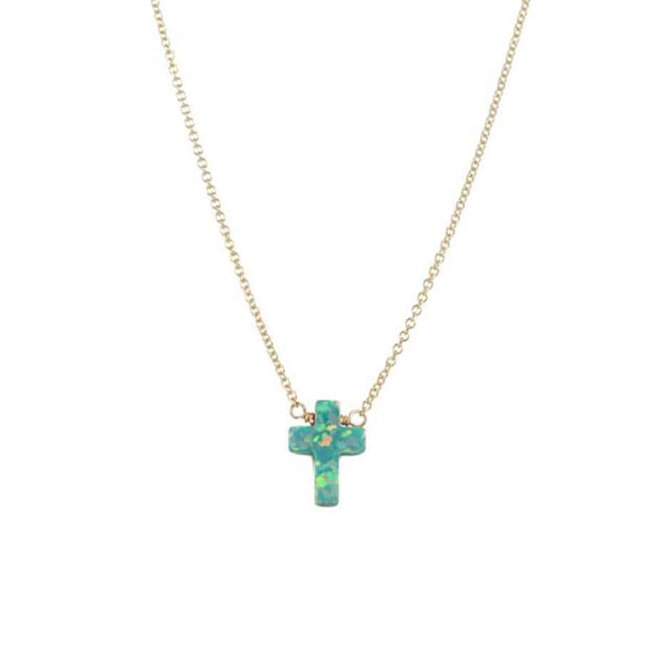 16 Elite Chain Necklace With Sea Green Opal Stone Cross 70359