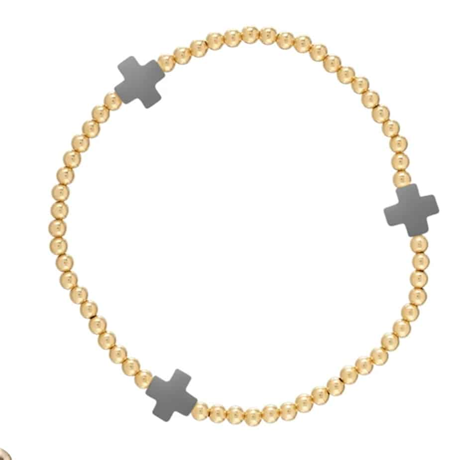 3mm Gold Bead Bracelet With Charcoal Cross 68682