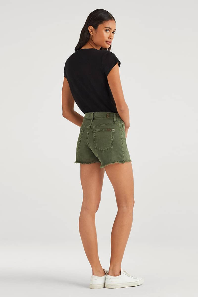 7 For All Mankind High Waist Vintage Cut Off In Army 41763