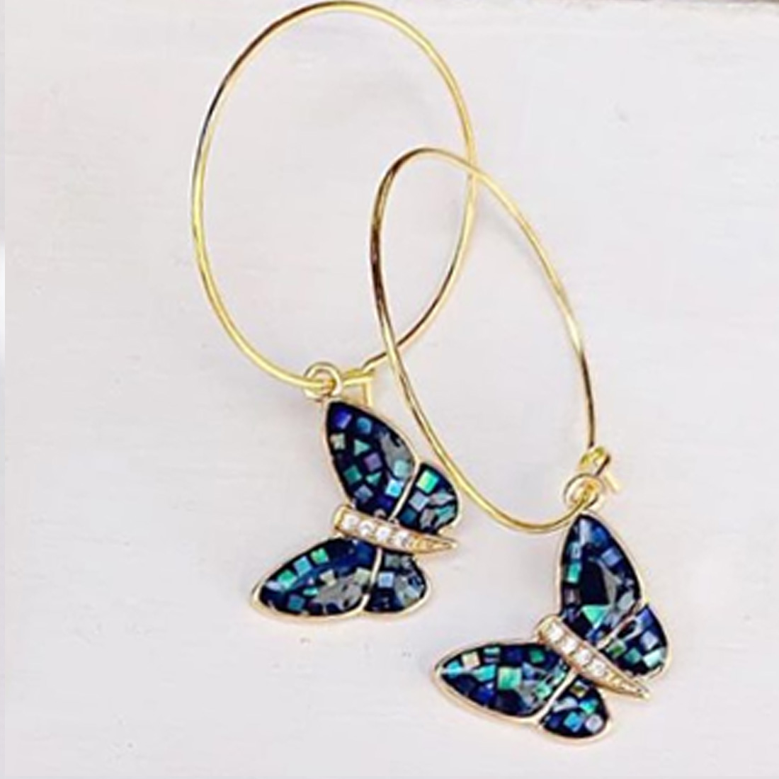 Abalone Butterfly Hoop In Gold 64131
