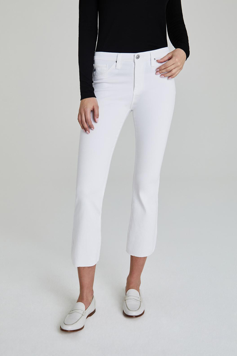 Ag Jeans Jodi Crop High Rise Flare In White 62760