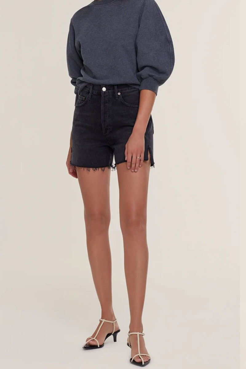agolde 100 cotton dee short in exhibit washed black 84637