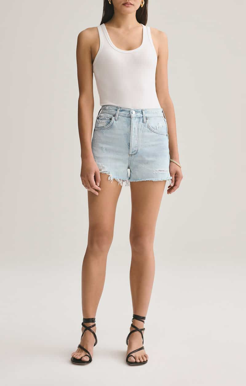 Agolde 100 Cotton Jaden Cut Off In Broken 63136