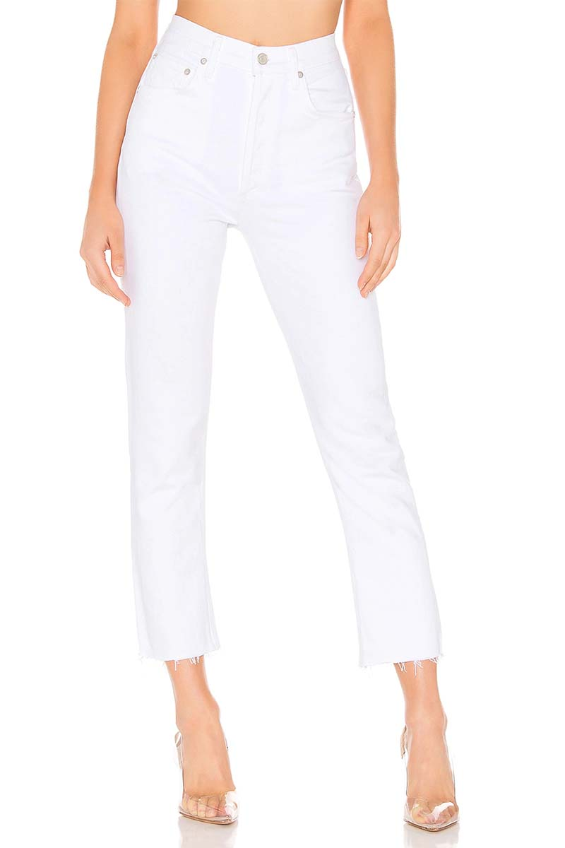 agolde 100 cotton riley high rise crop in blurred 84416