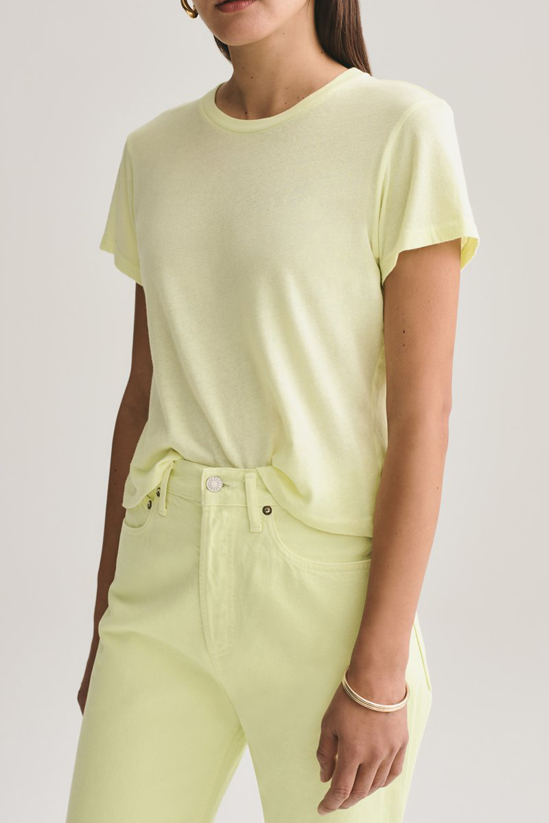 Agolde 100 Organic Cotton Linda Boxy Tee In Lemoncello 63137