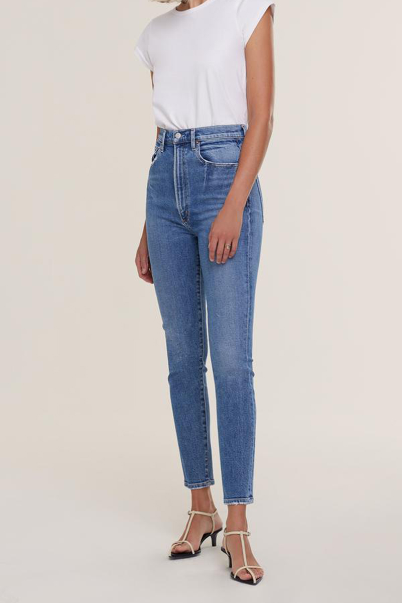 agolde 100 organic cotton pinched waist jean in amped 90090