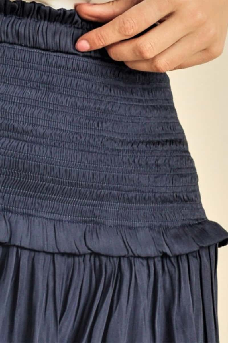 Amore Tiered Ruffled Skirt In Navy 72081