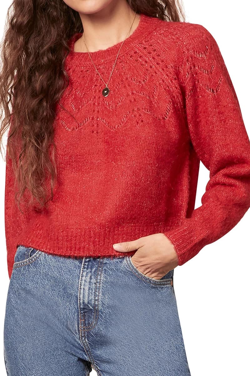Bb Dakota Turn Knit Up Sweater In Crimson 74757