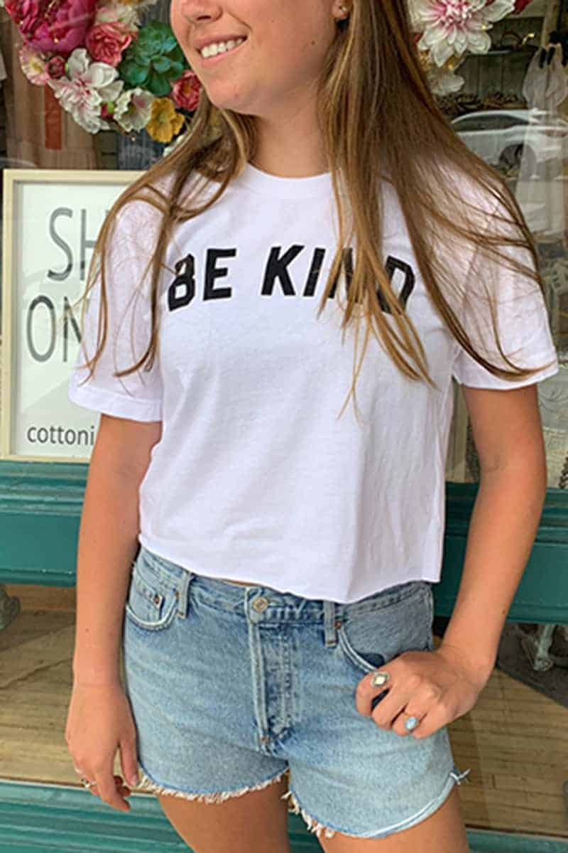 Be Kind Crop Tee In White 67222