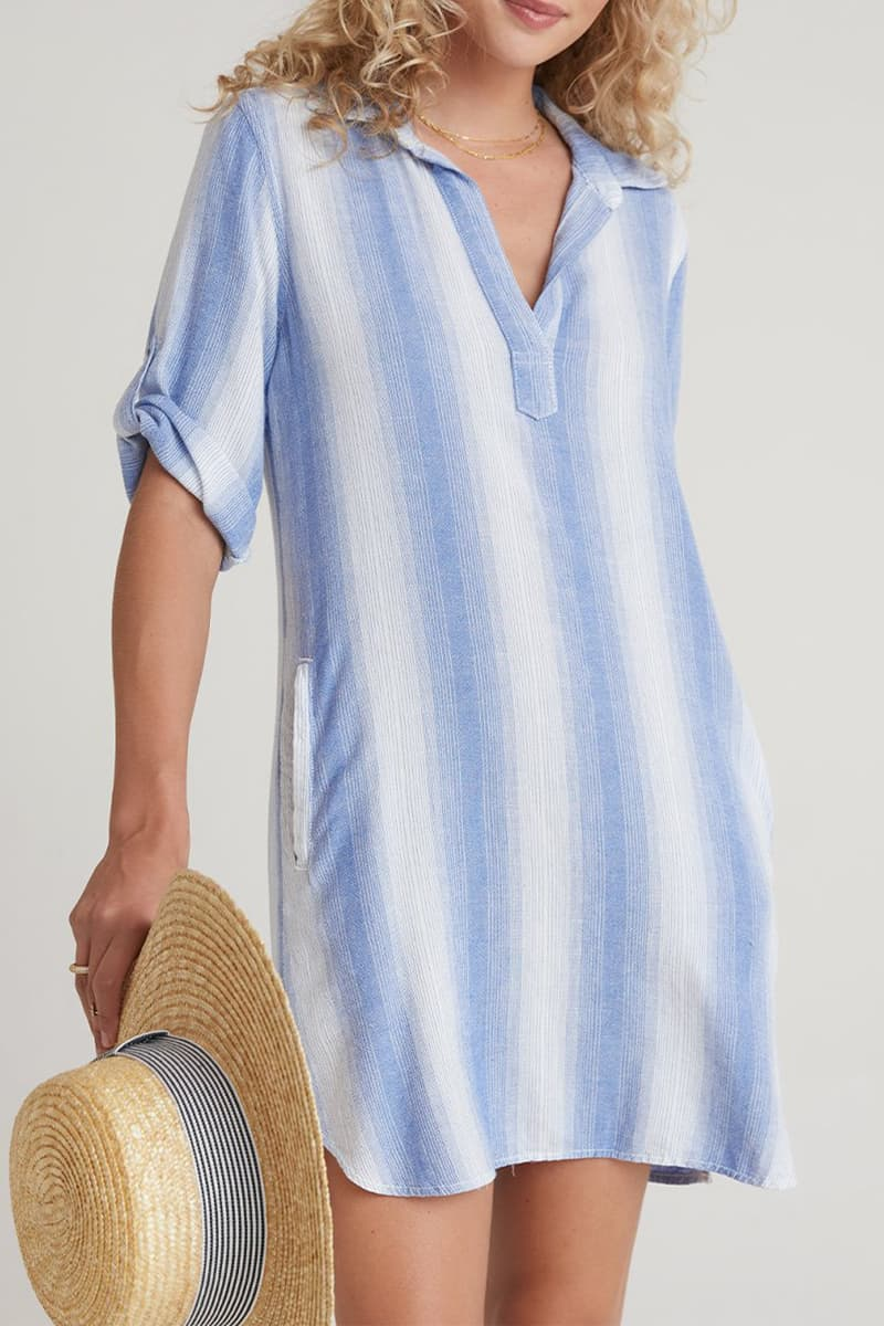 bella dahl a line shirt dress in serene sea stripe 81929
