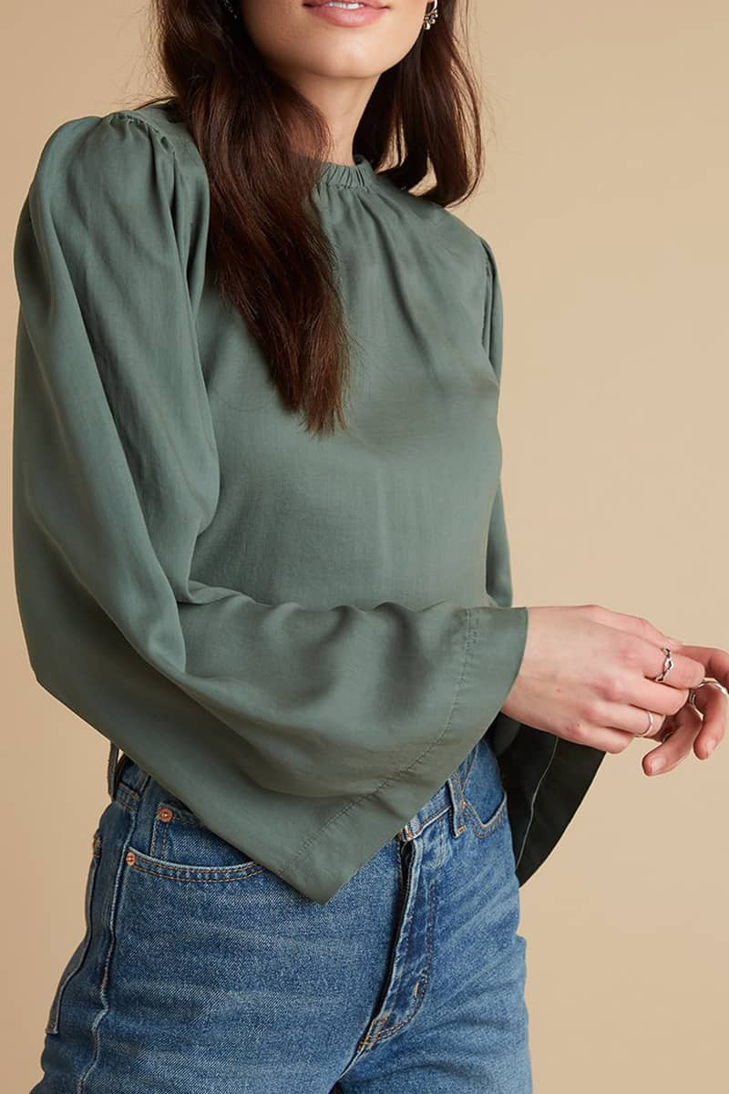 Bella Dahl Bell Sleeve Martini Olive Blouse 72777