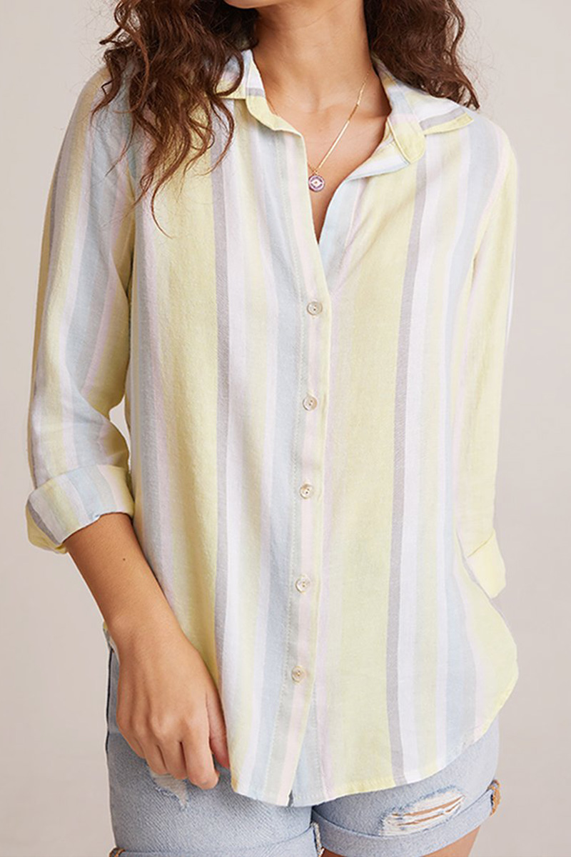 Bella Dahl Button Down Stripe Shirt In Sunny Lime 61906