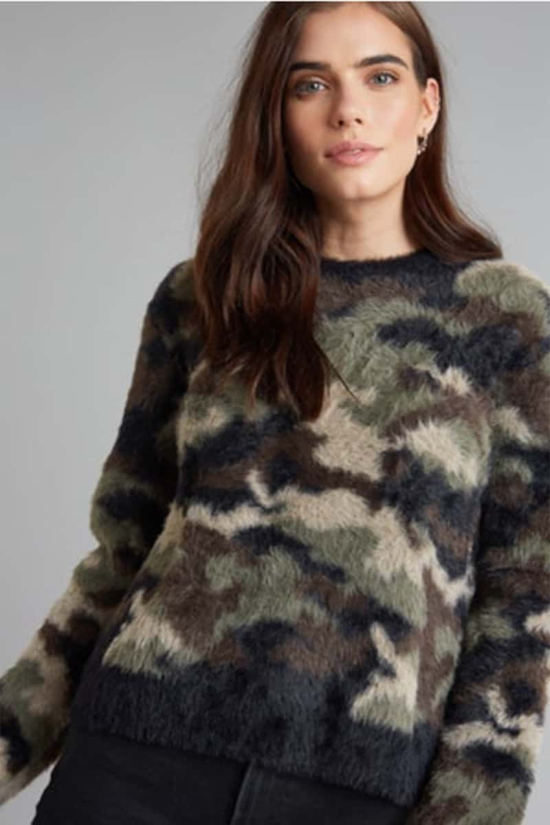 Bella Dahl Crew Neck Fuzzy Camo Sweater 74659