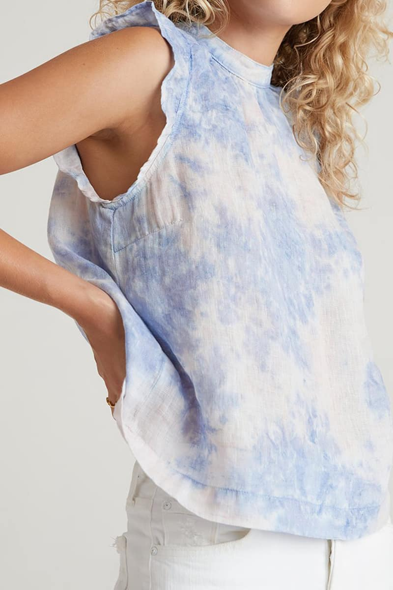 bella dahl mock neck ruffle galaxy tie dye 81927