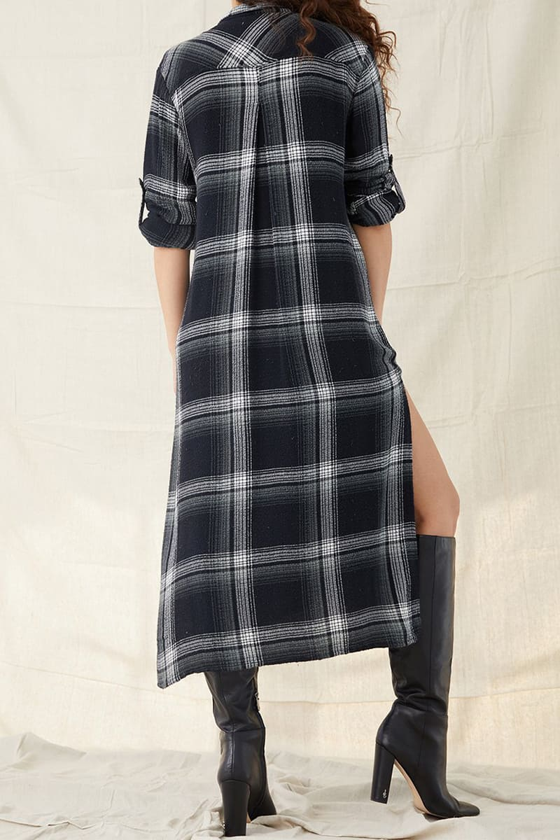 bella dahl rolled sleeve duster in ivy plaid 94665
