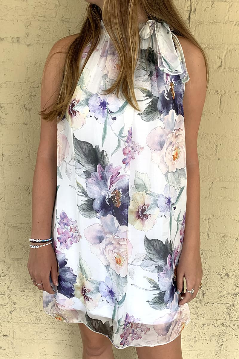 Beth Floral Tie Neck Sleeveless Dress 66842