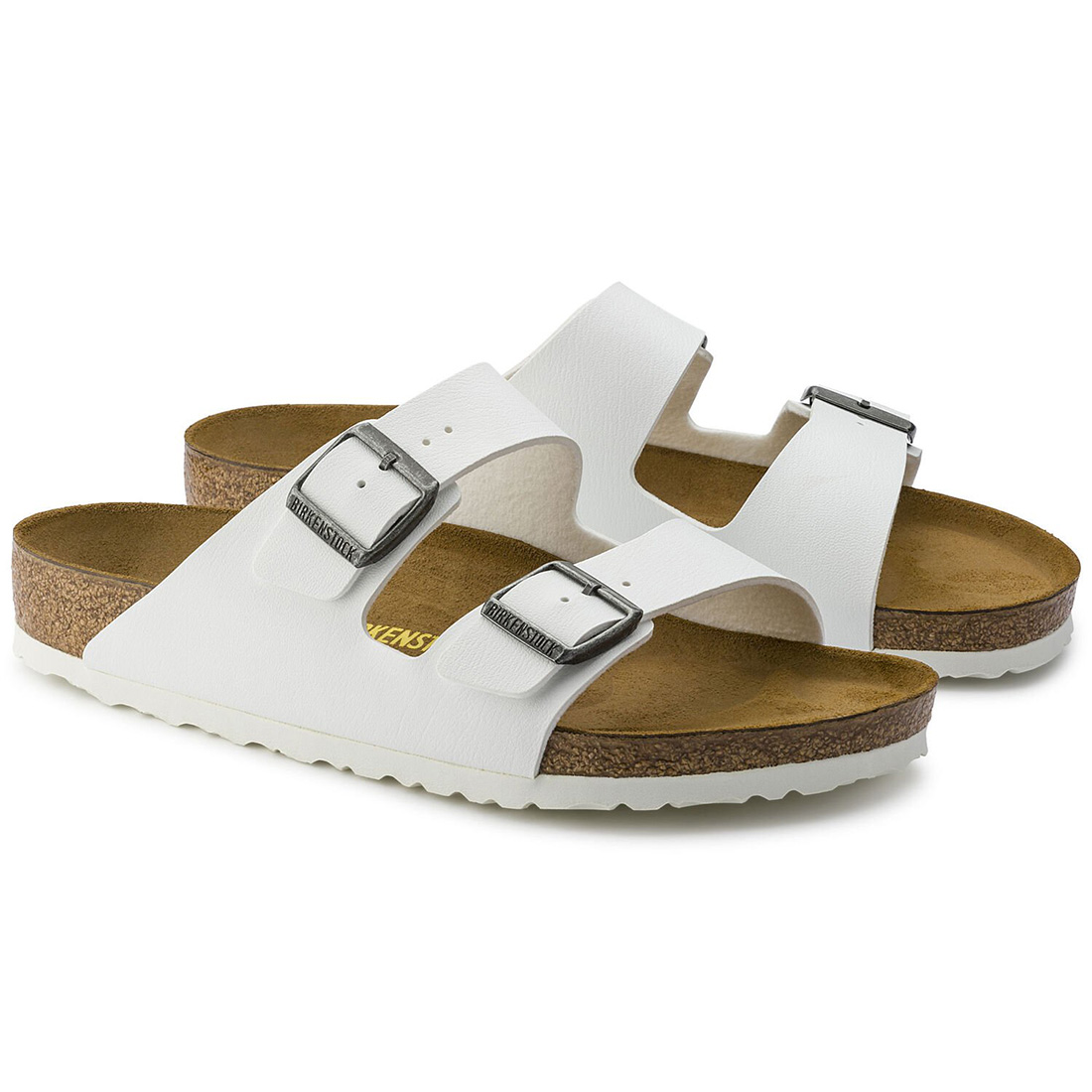 Birkenstock Arizona In White Birko Flor 62139