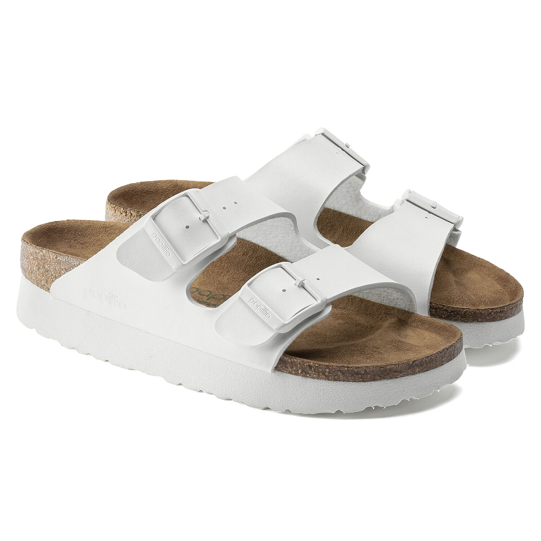 birkenstock arizona platform in white birko flor 82339
