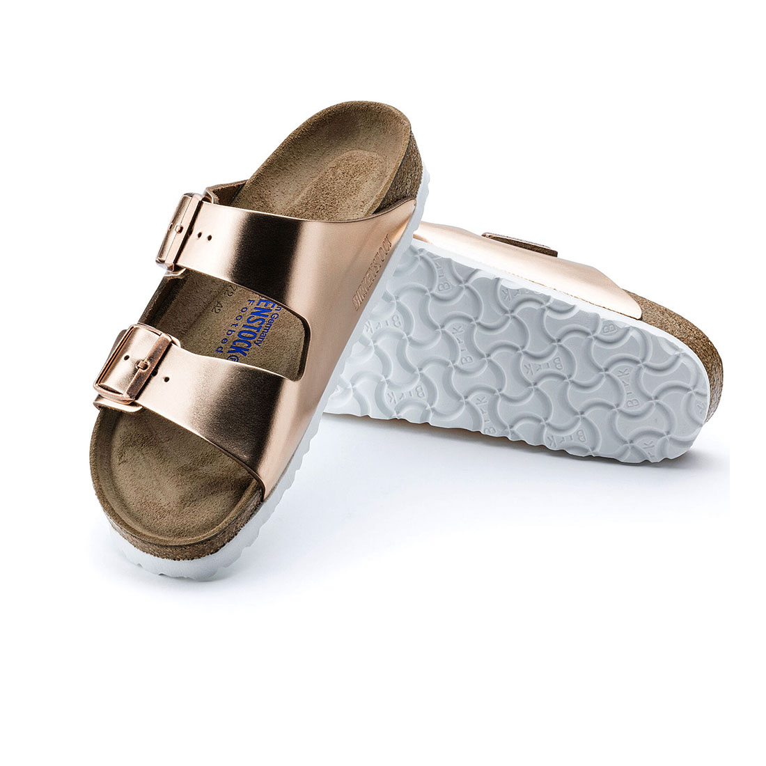 Birkenstock Arizona Soft Foot Bed In Metallic Copper Leather 63469
