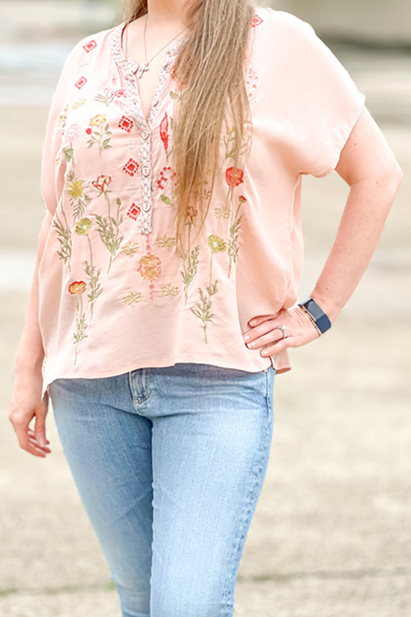 biya by johnny was botony blouse in antique rose 88501