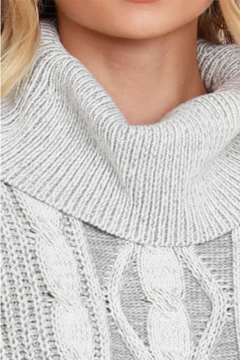 Bobi La Cropped Turtle Neck In Ivorygrey 76245