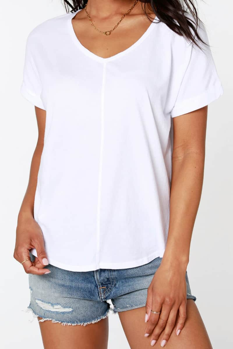 Bobi La V Neck 100 Cotton Round Hem Tee In White 63956