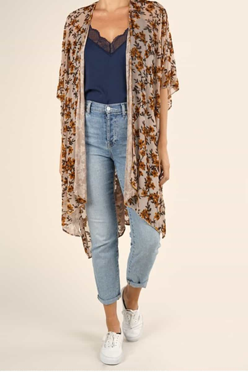 Burnout Velvet Kimono In Biege And Mustard 67754