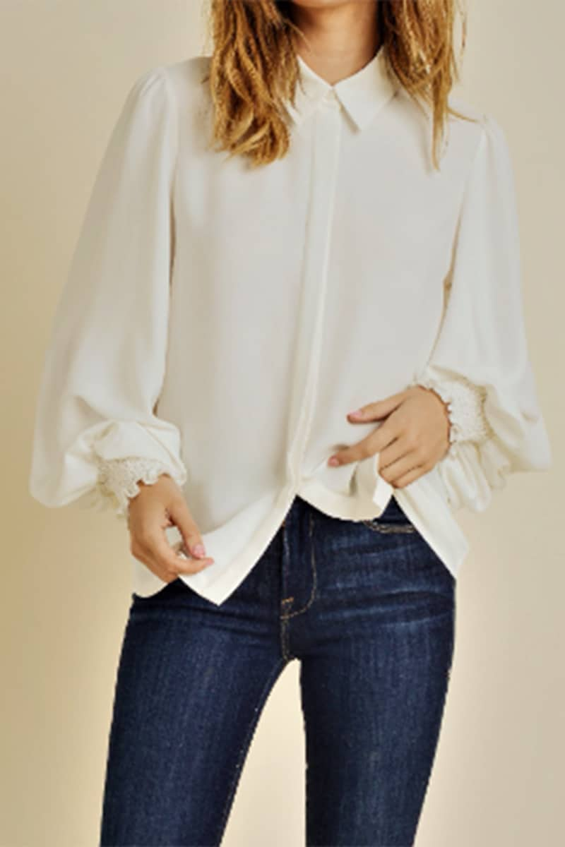 Button Down Blouse In White 72080