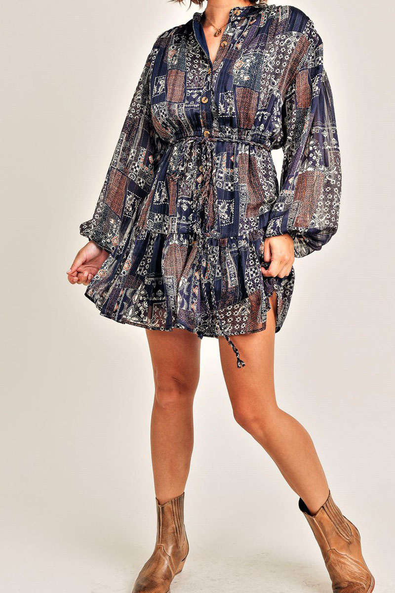 button up dress with belt in navy print 95075