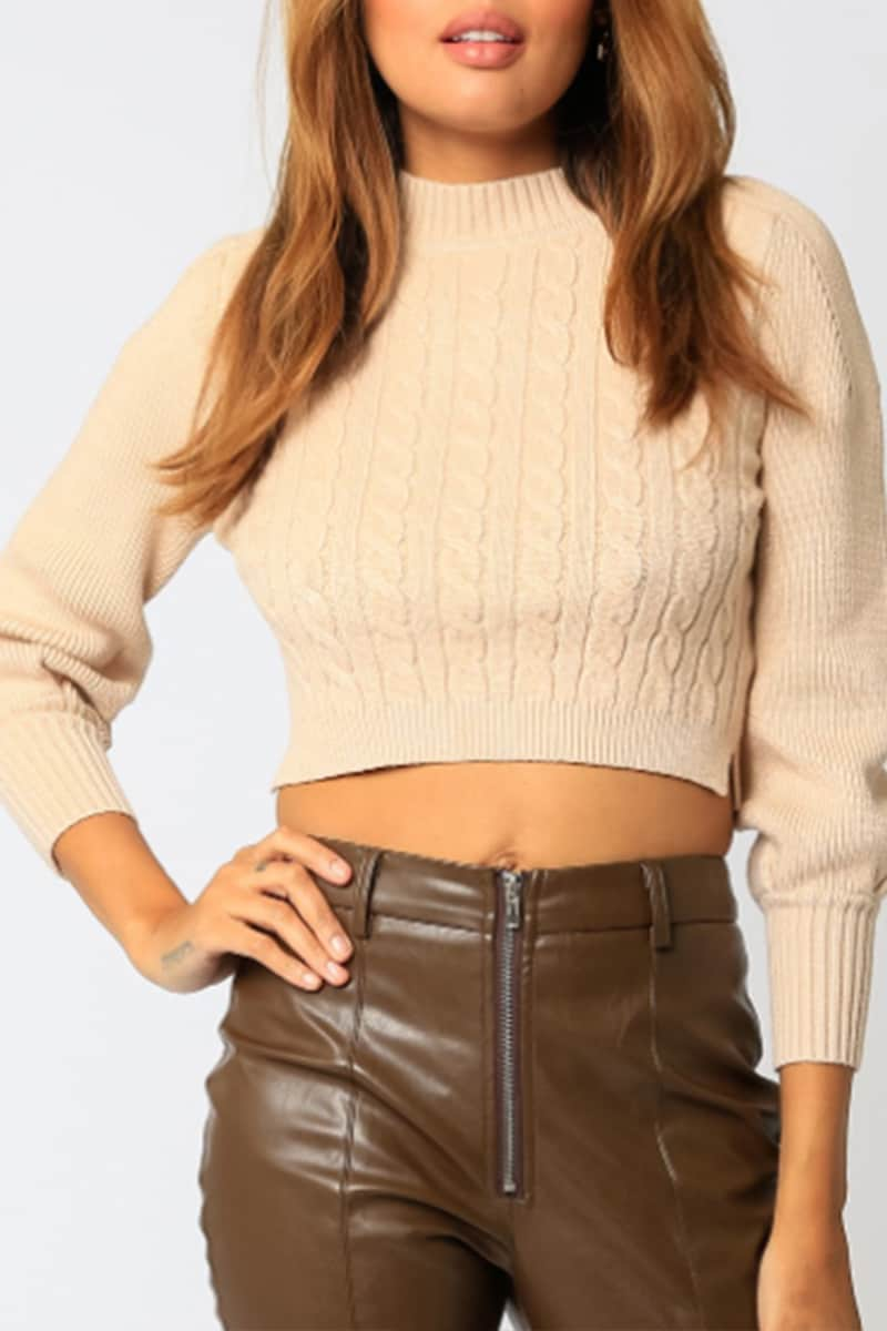cable knit crop sweater in coconut cream 96354