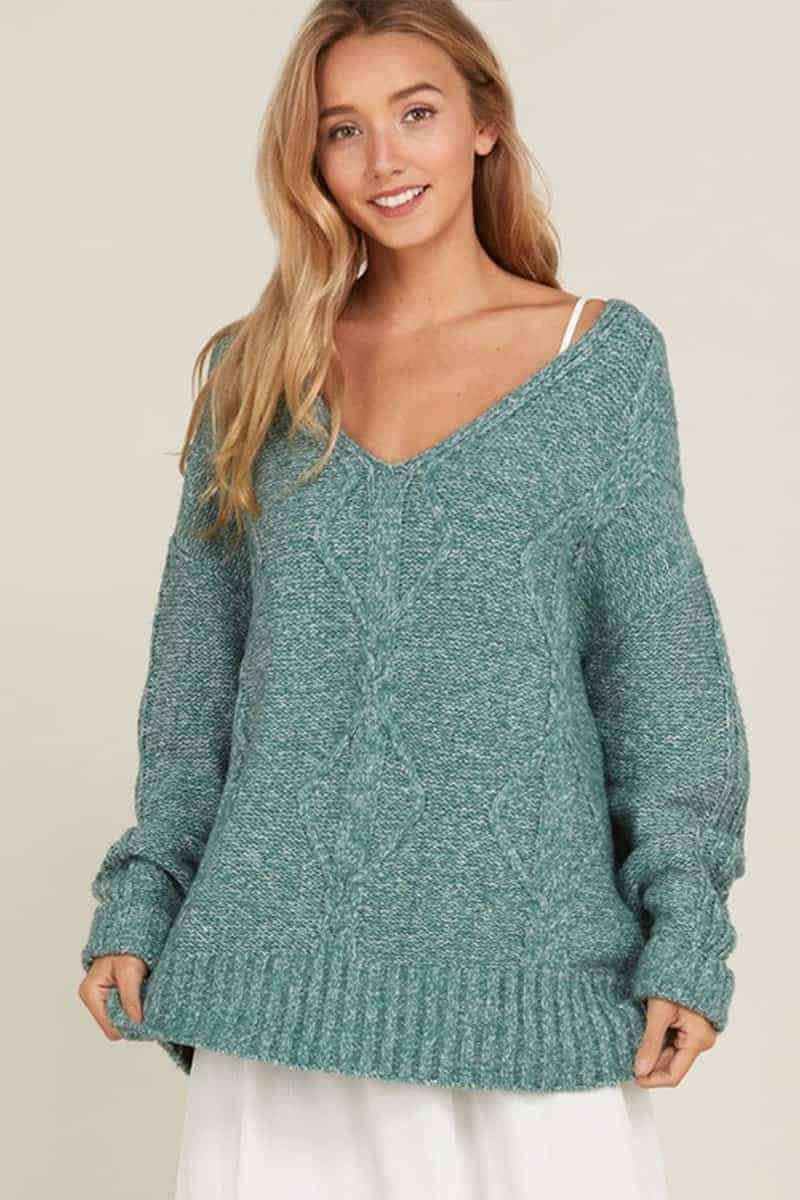 Cable Knit Vneck Sweater In Jade Cotton Island