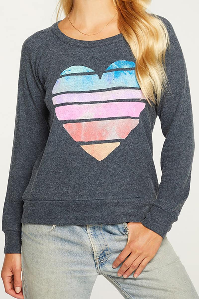 Chaser Bliss Heart Knit Ls Pullover In Avalon 80023