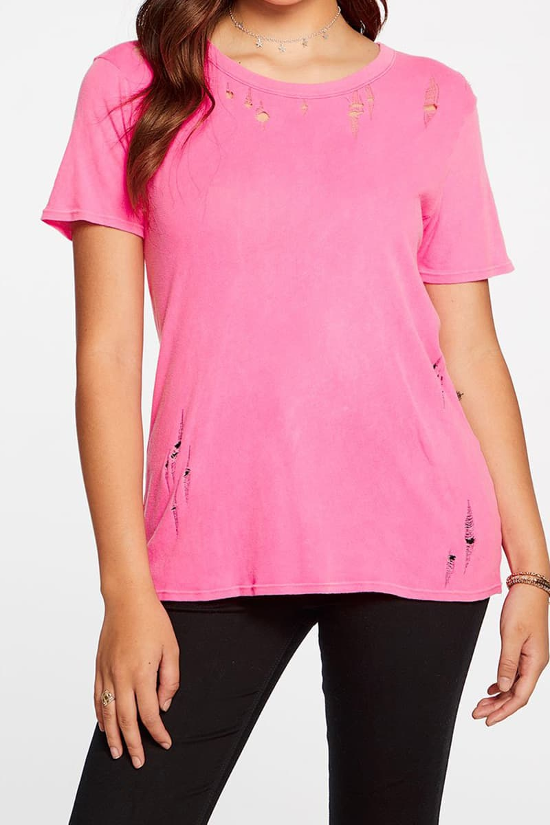 Chaser Easy Tee In Neon Pink 64159