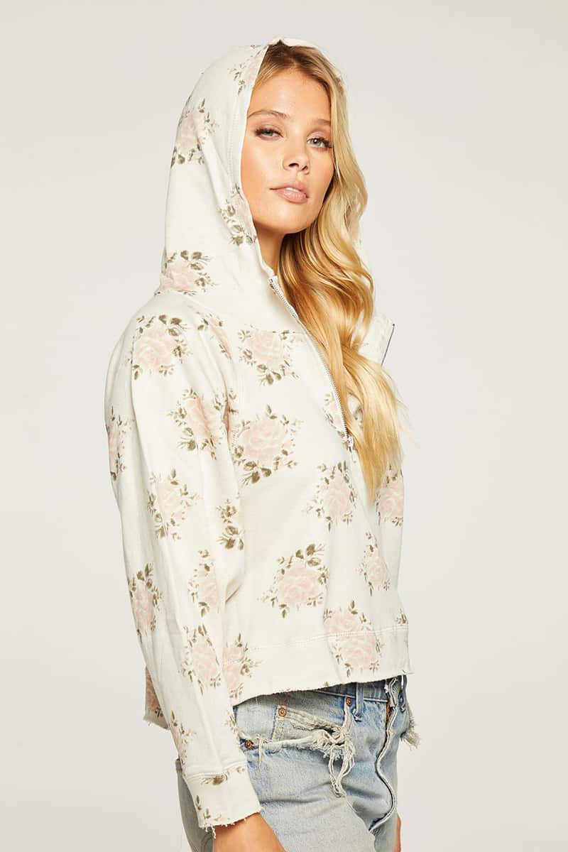 Chaser French Terry Half Zip Hoodie In Vintage Wallpaper 80022