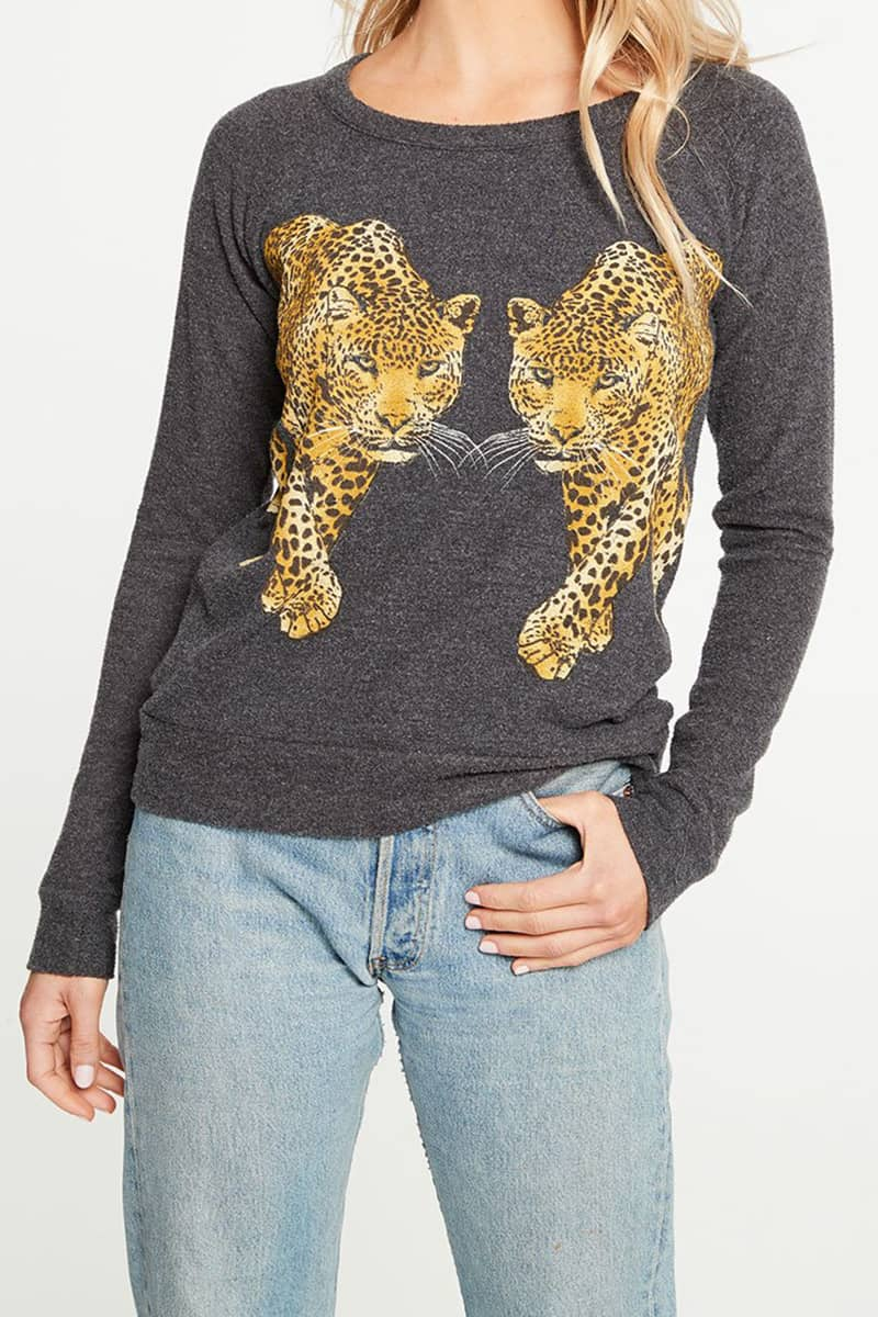 Chaser Love Knit Reflective Leopards In Black 72161
