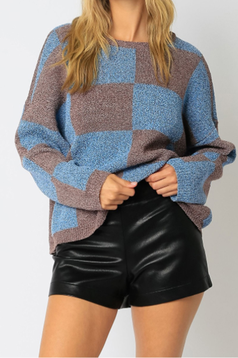 checkered crew sweater in brownblue 96353