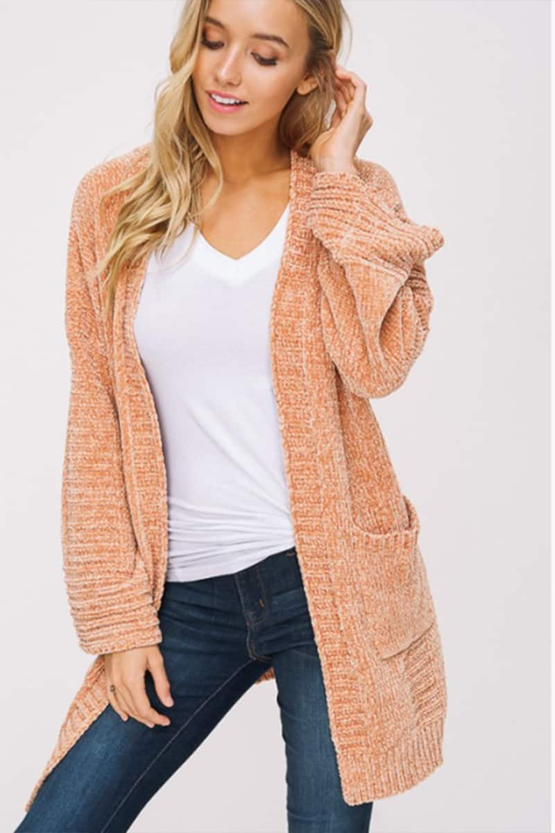 Chenille Open Cardigan Sweater With Patch Pockets In Mustard