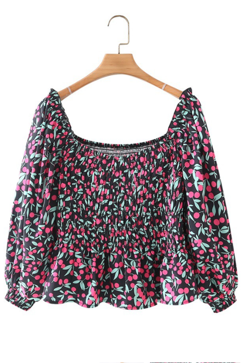 cherry print smocked ruffle top with ls 91847