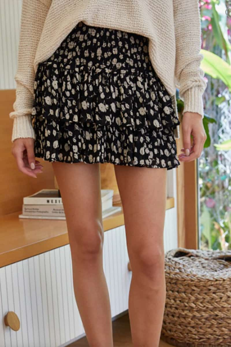 chiffon floral ruffle skirt in black and cream floral 94667