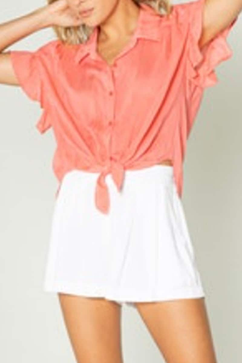 coral ss ruffle top 85998
