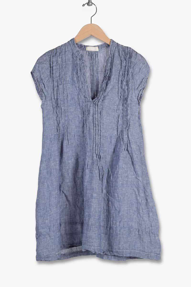 cp shades 100 linen regina cap sleeve tunic dress in chambrey wash 91986