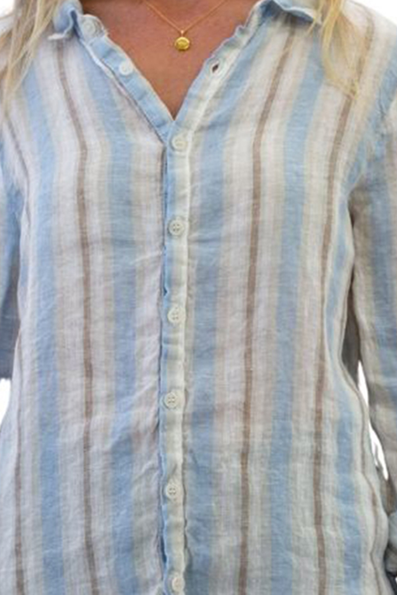 cp shades 100 linen romy fitted fitted button shirt in stripe wash 84162
