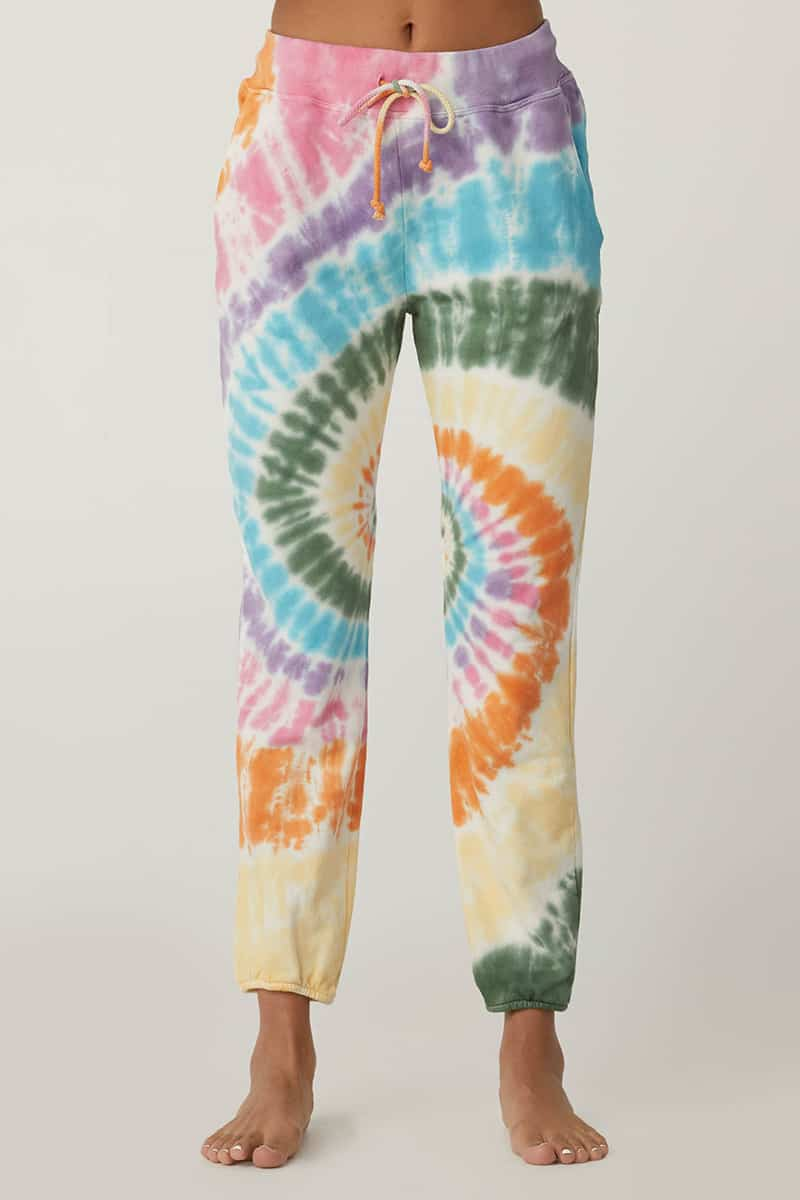 Daydreamer 100 Cotton French Terry Jogger In Tie Dye Spiral 79349