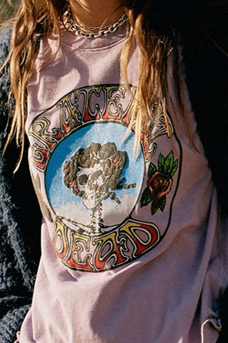 Daydreamer 100 Cotton Grateful Dead Run For The Roses Tour Tee In Dusty Orchid 71899