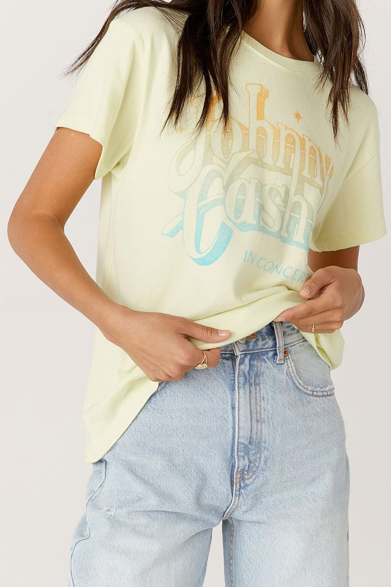 daydreamer 100 cotton johnny cash a thing called love tour tee in tender yellow 86495