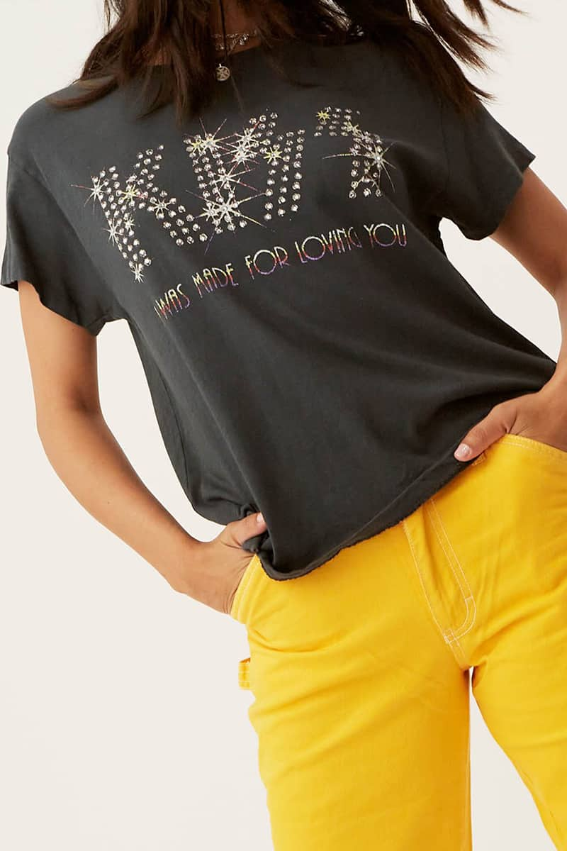 Daydreamer 100 Cotton Kiss Loving You Tour Tee In Vintage Black 73812